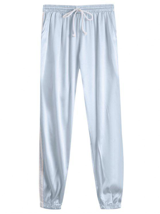 latest Drawstring Shiny Sporty Jogger Pants - FROST L