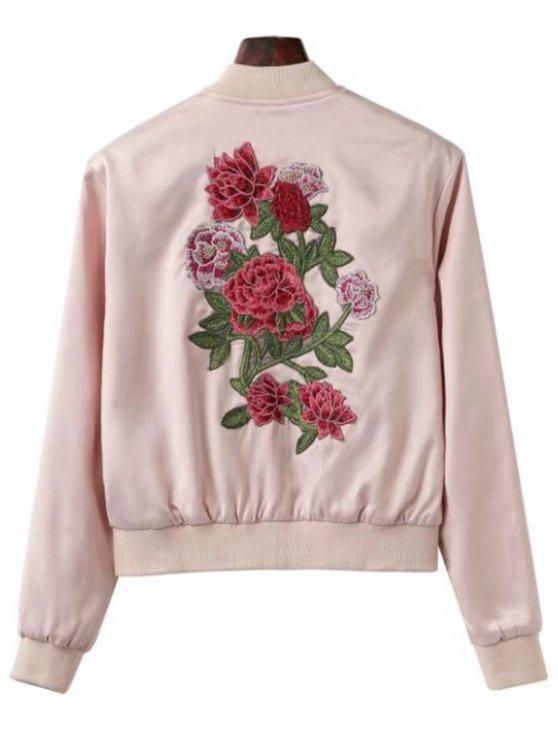 affordable Zip Up Floral Patchwork Bomber Jacket - LIGHT PINK L