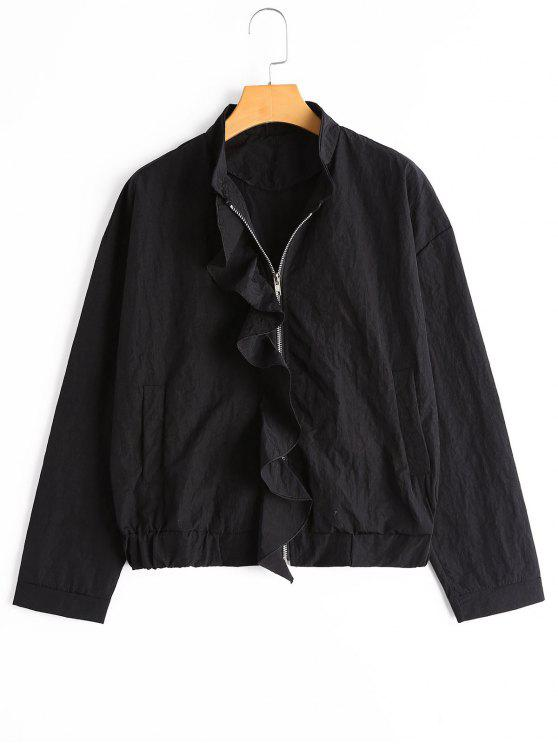 Ruffle Hem Plain Zip Up Jacket - Noir S