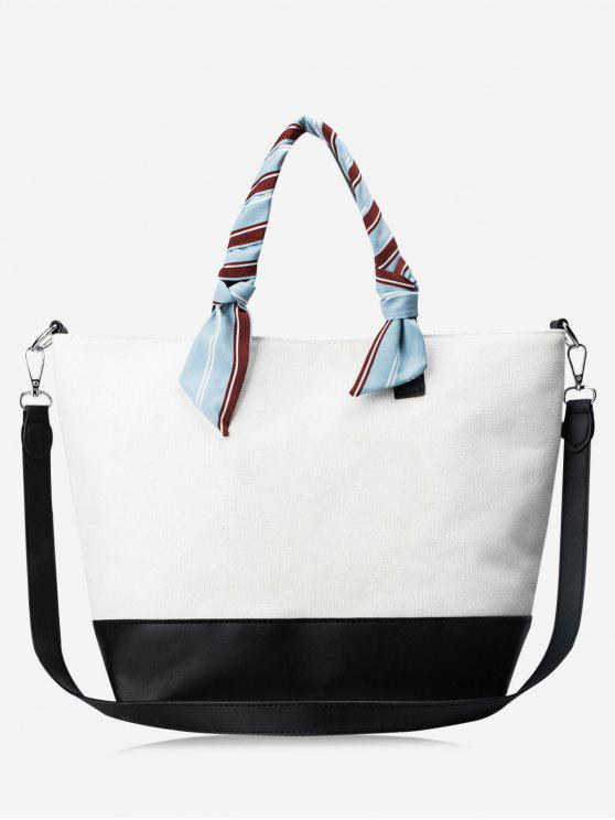 Bolsa em couro de fita de bloco de cor PU - Branco e Preto
