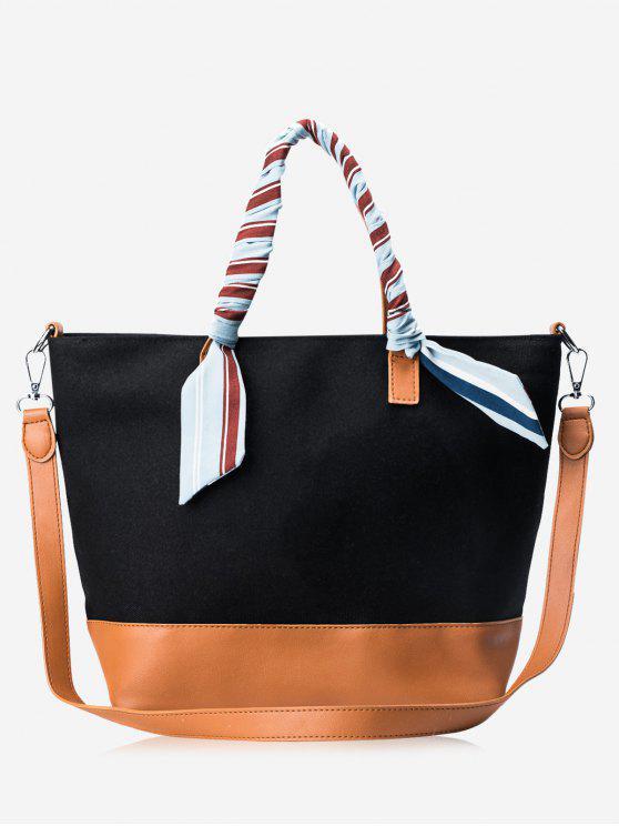 women's PU Leather Color Block Ribbon Handbag - BLACK AND BROWN
