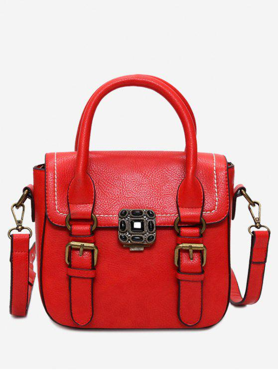 Stitching hebilla correas Metal Tote Bag - Rojo