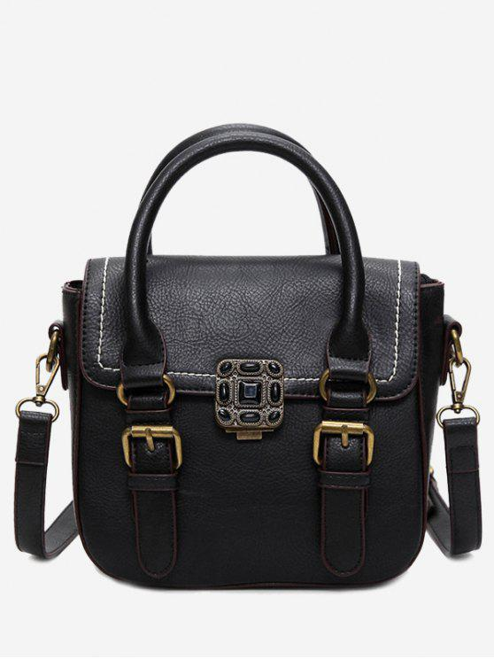 lady Stitching Buckle Straps Metal Tote Bag - BLACK