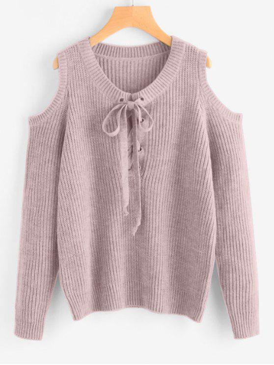 fashion Lace Up Cold Shoulder Chunky Sweater - LIGHT PURPLE ONE SIZE