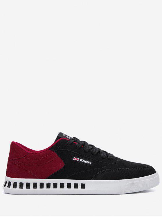 Stitching Color Block Letter Skate Shoes - Vermelho com Preto 39