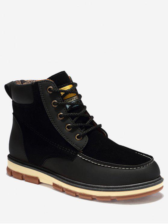 unique Moc Toe Color Block Ankle Boots - BLACK 40