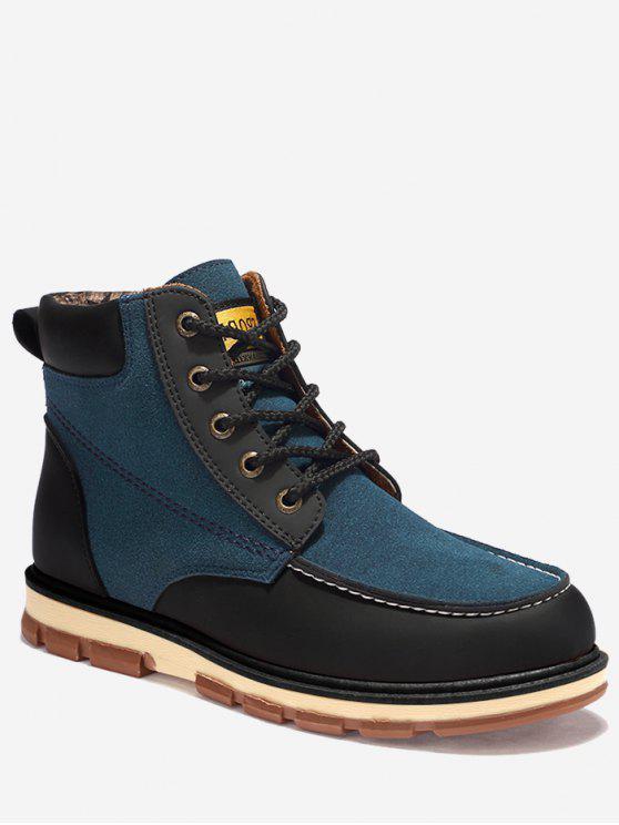 trendy Moc Toe Color Block Ankle Boots - BLUE 43