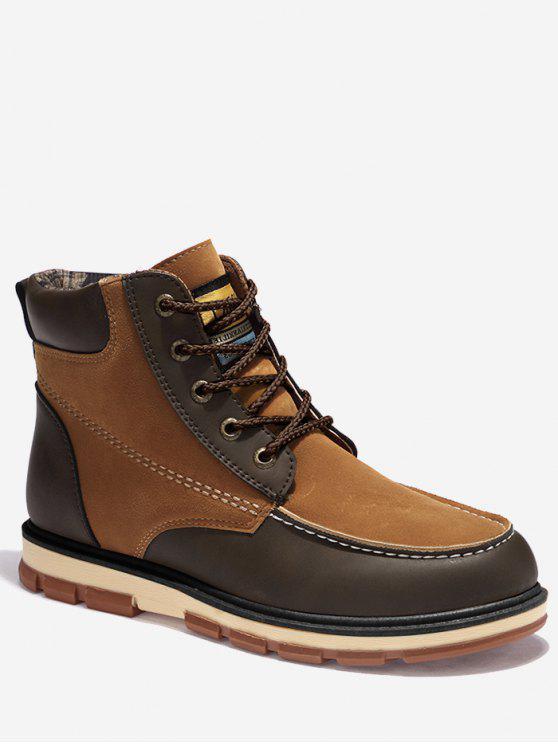 women's Moc Toe Color Block Ankle Boots - BROWN 41