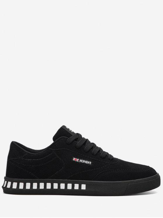 Stitching Color Block Letter Skate Zapatos - Negro 42