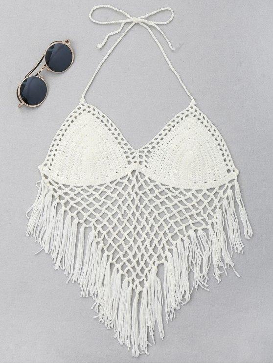 8df318d8acb48 17% OFF  2019 Halter Fringe Crochet Bikini Top In OFF-WHITE