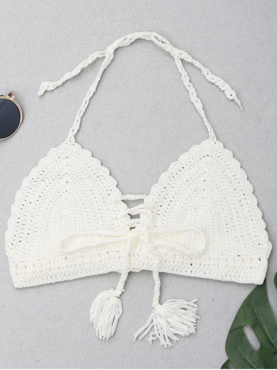 9e286f31bc 8% OFF  2019 Halter Tassel Crochet Bikini Top In WHITE