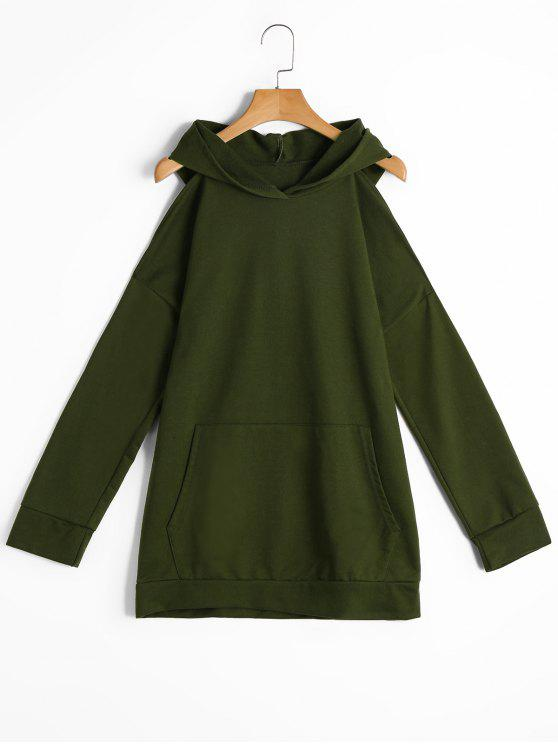2177310e3fd 2018 Long Cold Shoulder Hoodie With Pockets In ARMY GREEN S