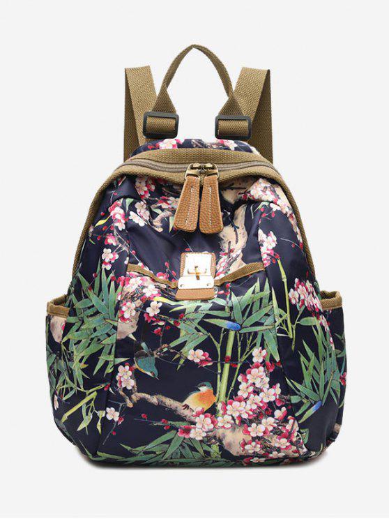 lady Metal Floral Print Backpack - GREEN