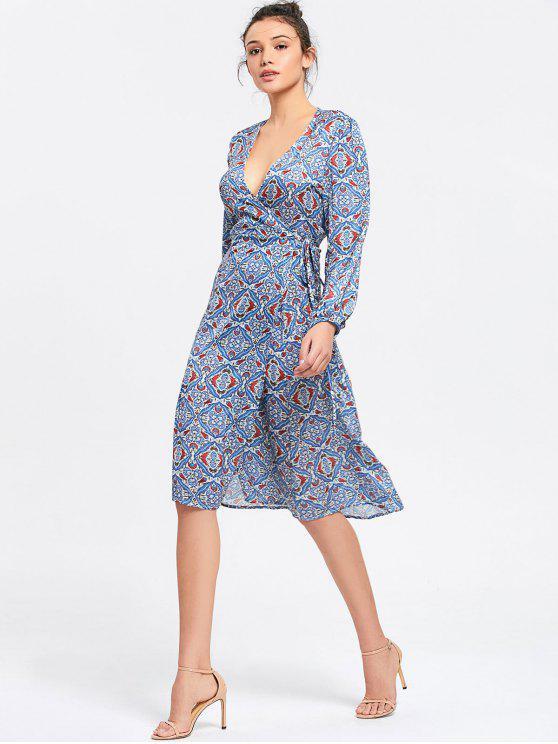فستان ميدي لف طويلة الأكمام طباعة - أزرق M