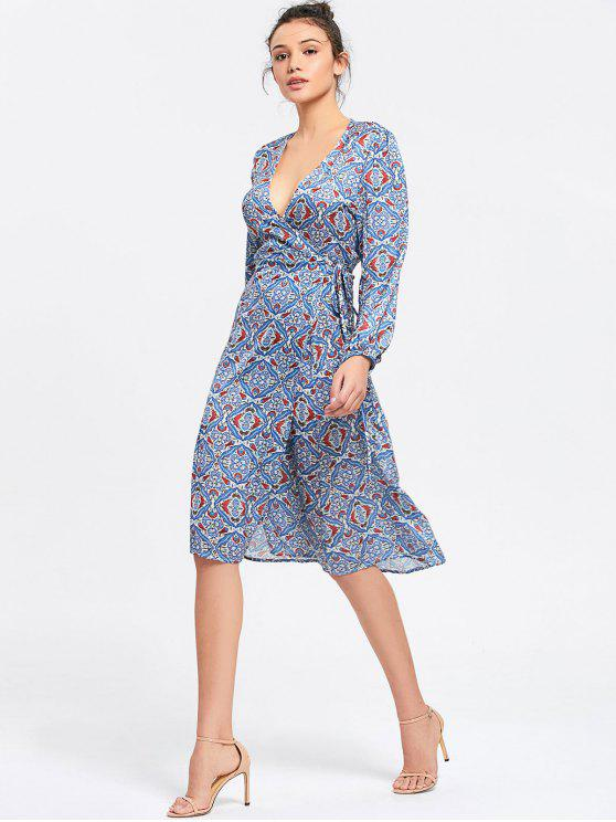 fbc909fdc 59% OFF  2019 Vestido Estampado Midi Manga Longa Com Azul