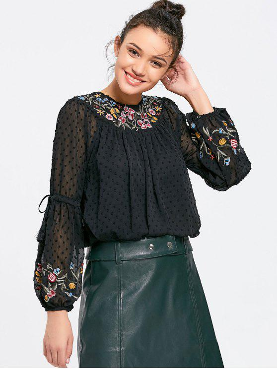 trendy Applique See Thru Floral Embroidered Blouse - BLACK M