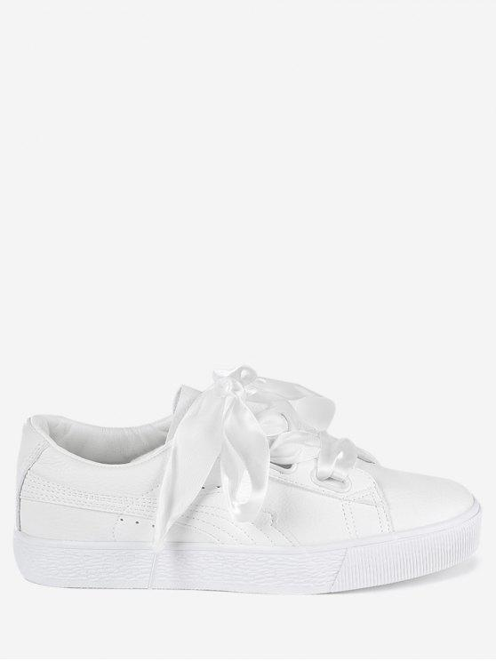 fancy Low Top Ribbon Sneakers - WHITE 40
