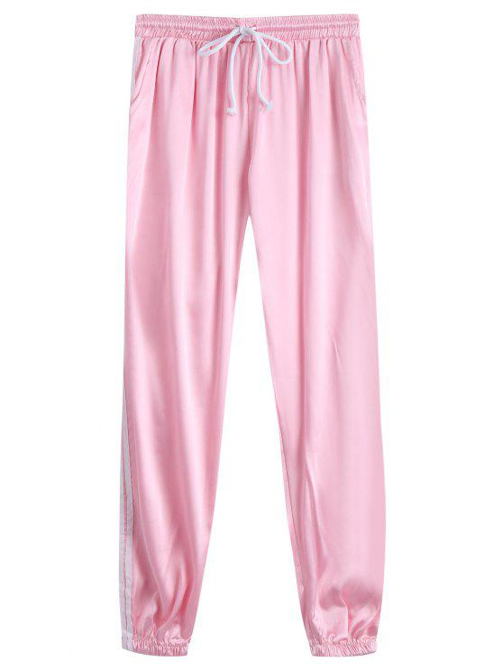 fancy Drawstring Shiny Sporty Jogger Pants - PINK L