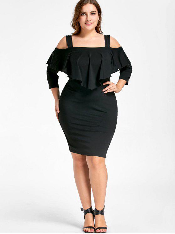 Vestido de vaina de hombro frío superposición - Negro XL