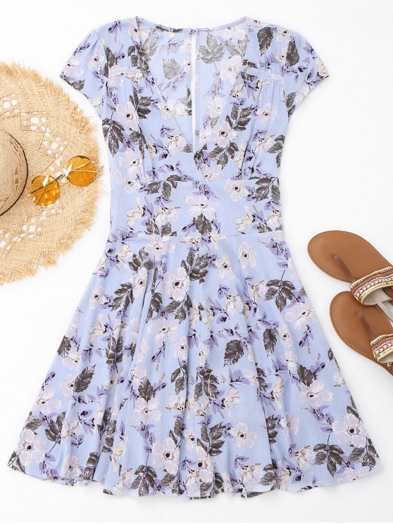 Plunge Floral Cut Out Beach Dress - Floral M