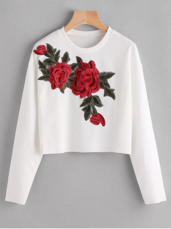 sale Floral Applique Ribbed Cropped T-shirt - WHITE S