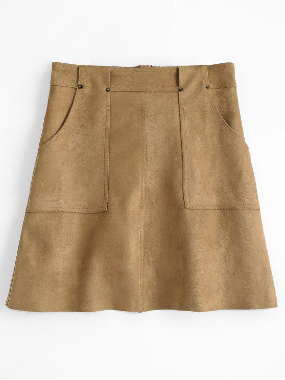 A Line Faux Suede Mini Skirt - Caqui M