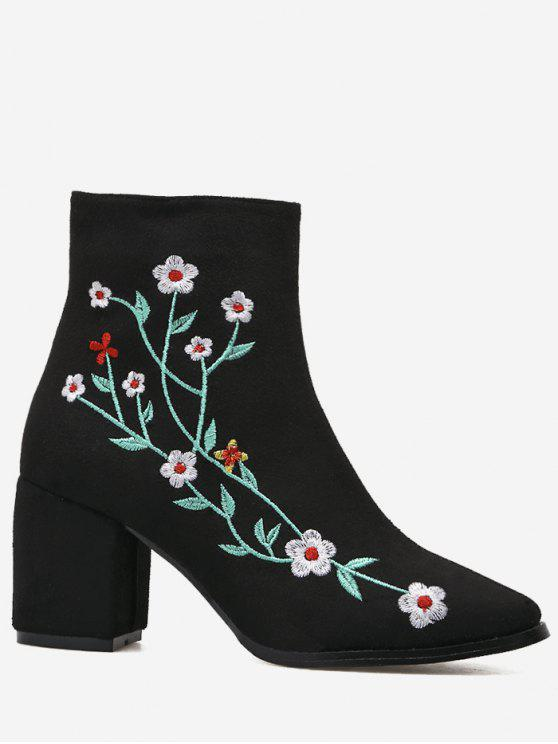 ladies Chunky Embroidery Floral Ankle Boots - BLACK 40