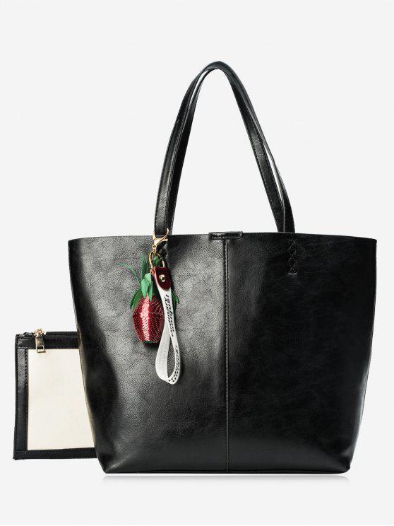 Conjunto de sacola de pingente de abacaxi - Preto