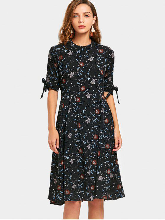unique Mock Neck Floral Dress - BLACK M