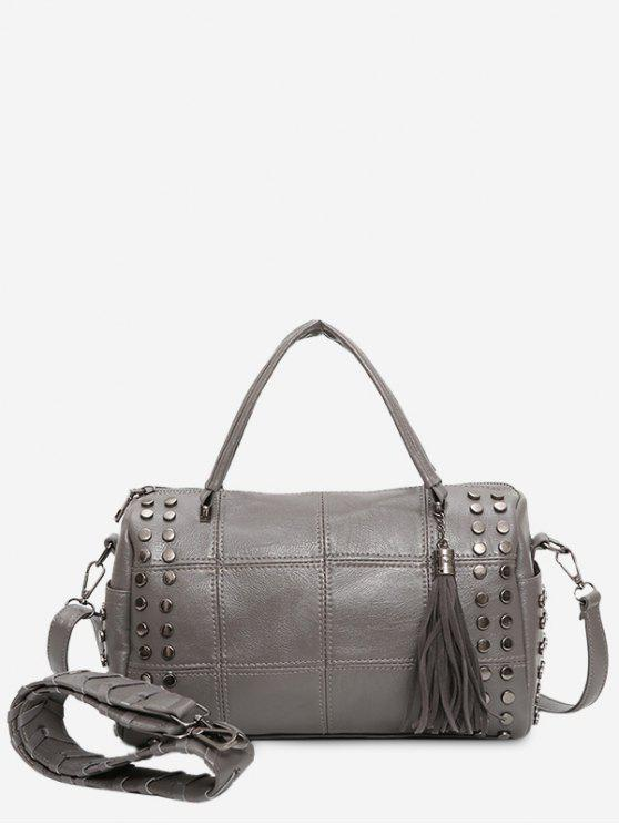 Tassel Stud Quilted Tote Bag GRAY: Shoulder Bags | ZAFUL : quilted tote bag - Adamdwight.com