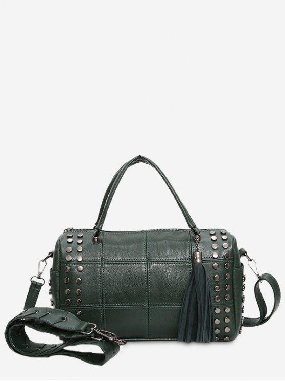Tassel Stud Quilted Tote Bag - GREEN