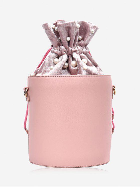 Eimer Tasche mit Kordel, Faux-Perlen - Pink