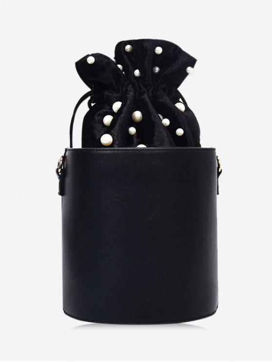 fashion Drawstring Faux Pearl Bucket Bag - BLACK