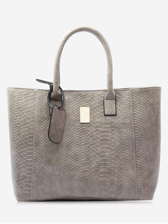 womens Alligator Printed Faux Leather Shoulder Bag - GRAY