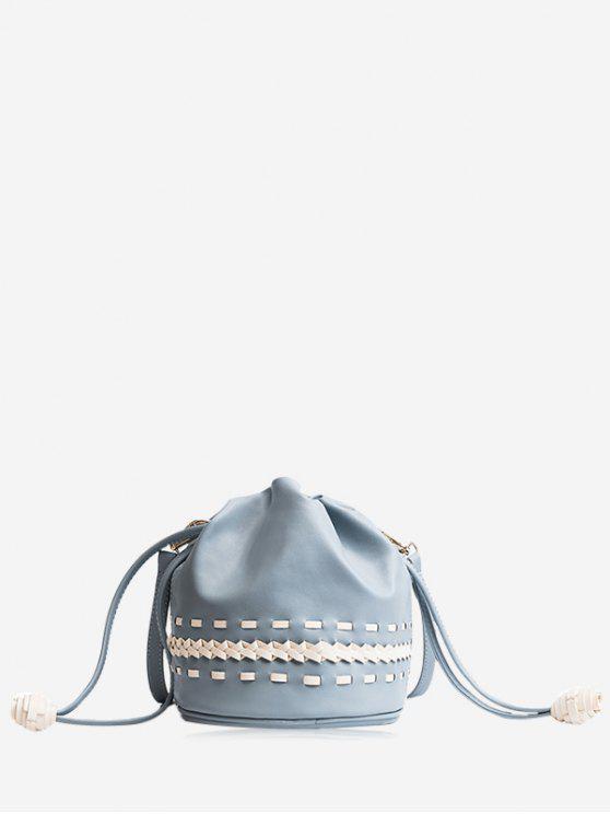 trendy Drawstring Braid Crossbody Bag - BLUE