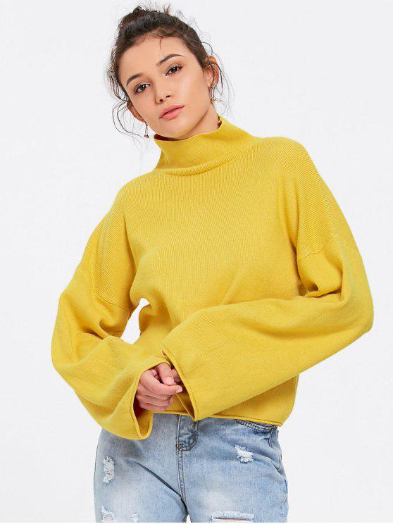 womens Lantern Sleeve Turtleneck Sweater - YELLOW ONE SIZE