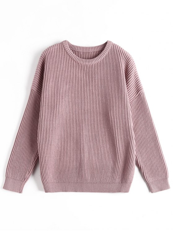 ladies Ribbed Chunky Sweater - PURPLE ONE SIZE