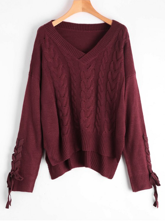 2018 Lace Up Cable Knit V Neck Sweater In Wine Red One Size Zaful