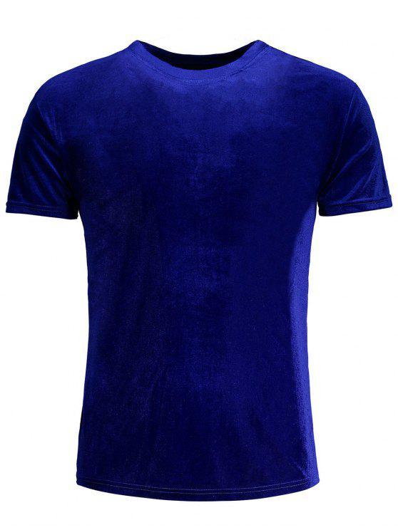 latest Short Sleeve Velvet Top - BLUE 2XL