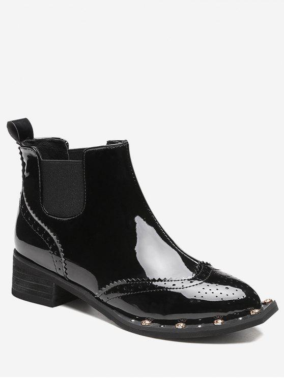 trendy Rivet Wingtip Ankle Boots - BLACK 39