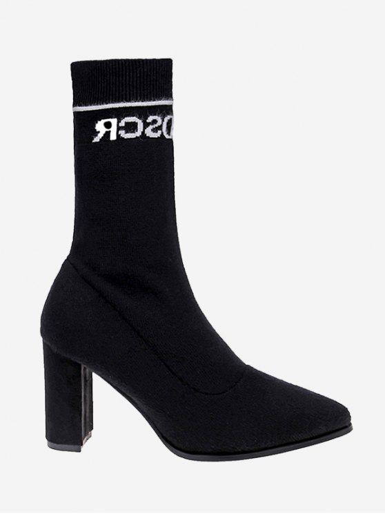 unique Letter Pointed Toe Chunky Mid Calf Boots - BLACK 35