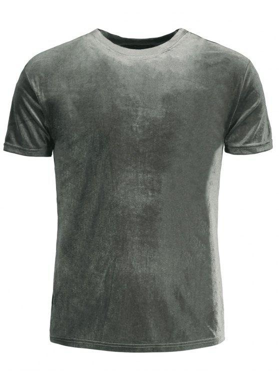 fashion Short Sleeve Velvet Top - GRAY S