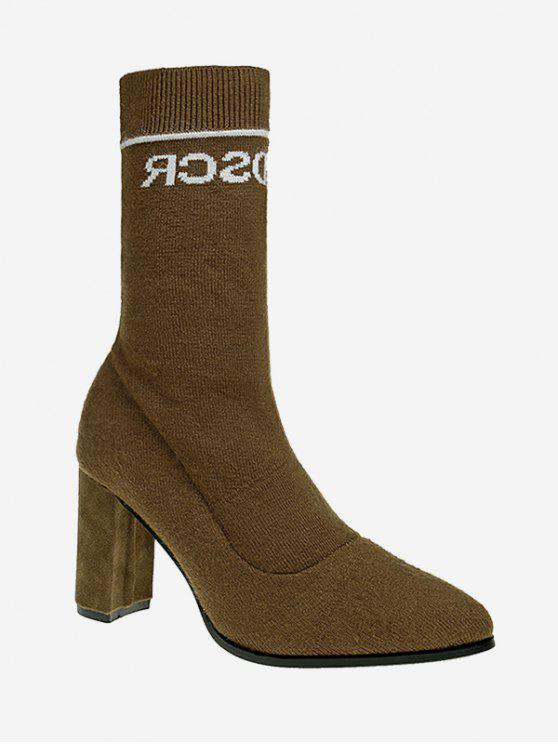 Letter Pointed Toe Chunky Mid Calf Boots - Caqui 38