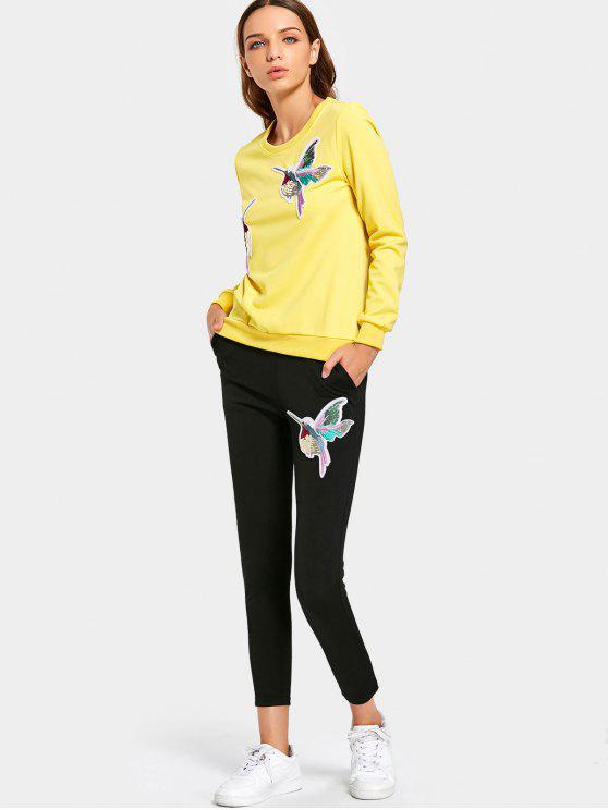 unique Sequined Bird Sweatshirt and Pants Set - YELLOW 3XL