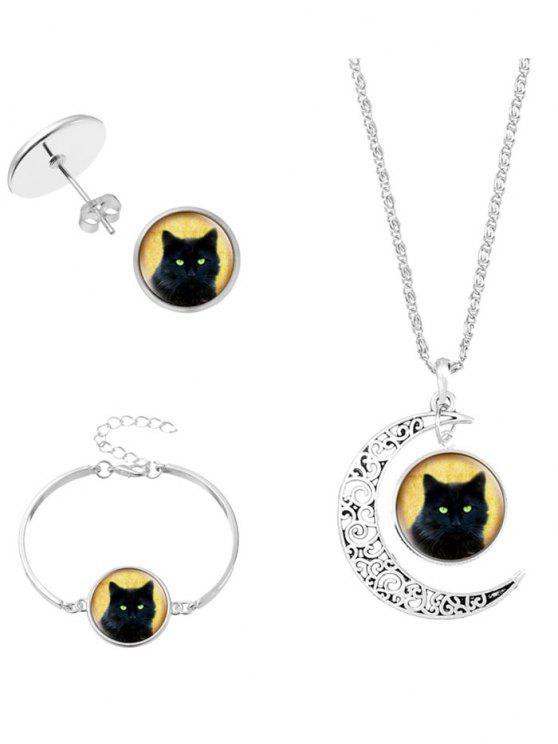Pulsera y pendientes del collar del gato de la luna de Halloween - Plata