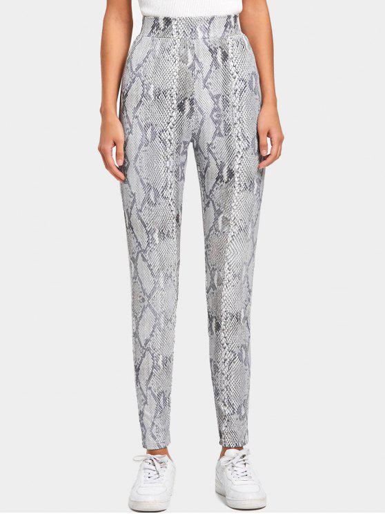 Snakeskin Print Skinny Pants - Cor Mistura M