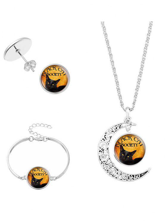 Halloween-Mond-Gesellschafts-Katzen-Schmucksache-Set - SILVER