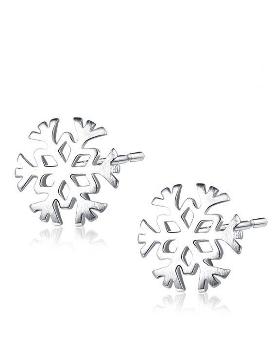Weihnachten Sterling Silber Schneeflocke Ohrstecker - silber