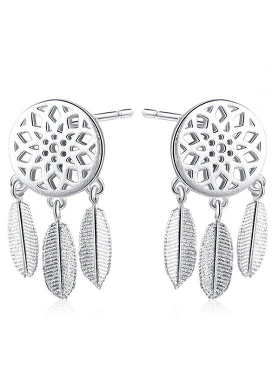 Dream Catcher Leaf Sterling Silver Earrings - Prateado