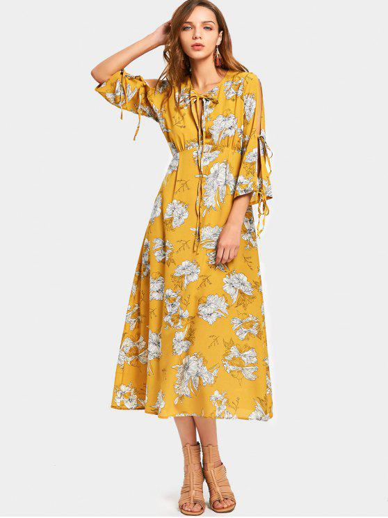 Split manga de impresión floral vestido de lazo - Jengibre M